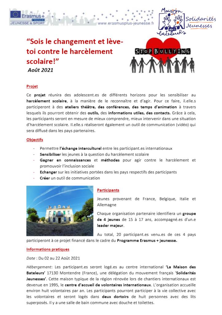 echange-europeen pour lutter contre le harcèlement saint georges des coteaux