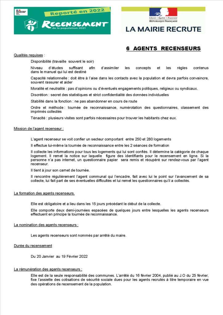 Recrutement agents recenseurs